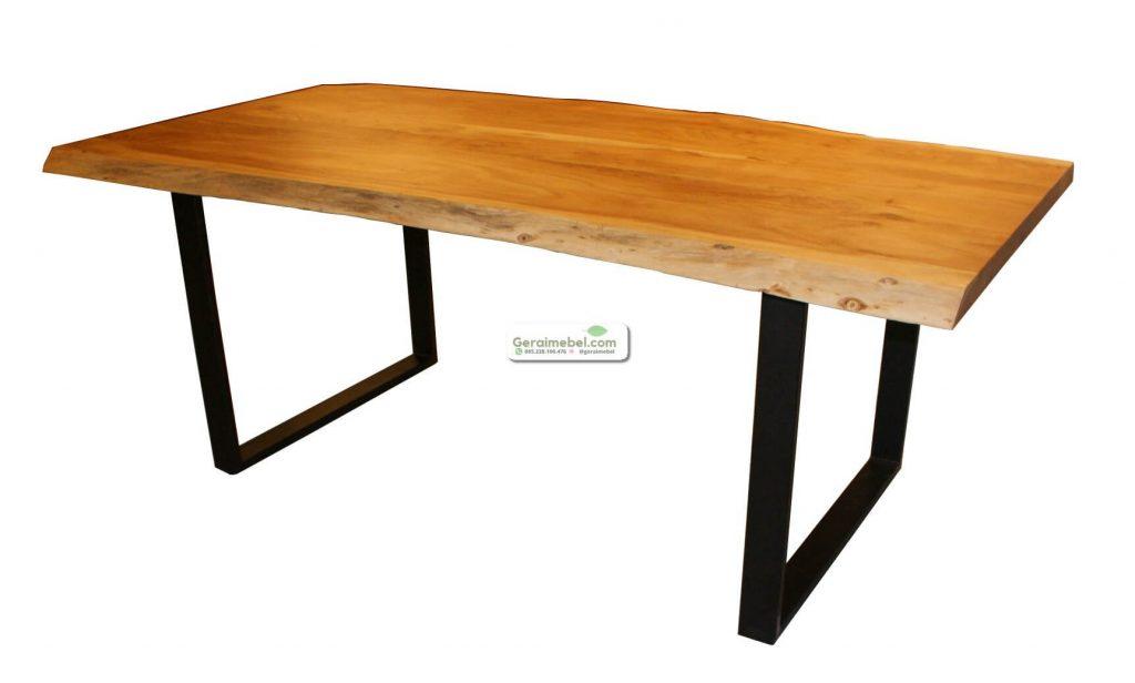 meja solid murah, meja trembesi murah, meja solid trembesi kaki besi