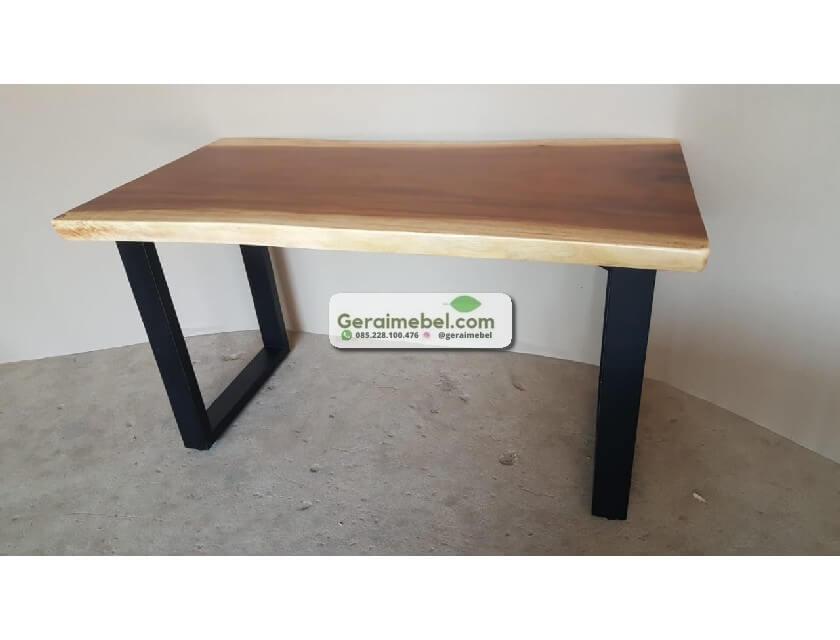 meja makan kayu utuh, meja kayu utuh, meja makan minimalis kayu utuh
